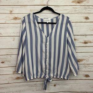 Olive & Oak Blue White Striped Hem Tie Top